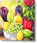 Time For Fruits And Vegetables Metal Print