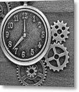 Time In Black And White Metal Print