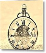 Time In The Sand In Sepia Metal Print