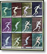 Time Lapse Motion Study Man Running Color Metal Print