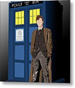 Time Lord And His Tardis Metal Print