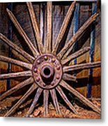 Time Worn Wheel Metal Print