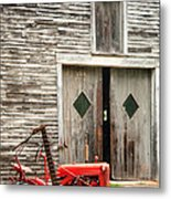 Red Tractor And Old Barn Ossipee New Hampshire Metal Print