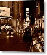 Times Square At Night - In Copper Metal Print