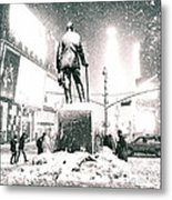 Times Square In The Snow - New York City Metal Print