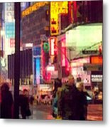 Times Square - Man Walking With Yellow Bag Metal Print