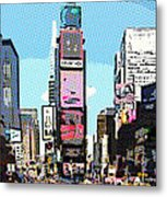 Times Square Nyc Cartoon-style Metal Print