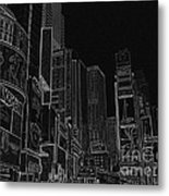 Times Square Nyc White On Black Metal Print by Meandering Photography