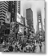 Times Square With Fog Metal Print