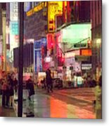 Times Square With Runaway Horse Metal Print