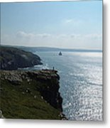 Man On The Edge Tintagel Metal Print
