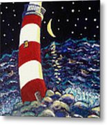 Tipsy Lighthouse With White Cat Metal Print