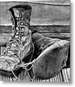 Tired Leather In Black And White Metal Print