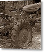 Tired Tractor...... Sepia Metal Print