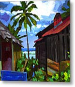Tiririca Beach Shacks Metal Print