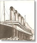 Titanic Drawing Metal Print