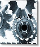 Titanium Aerospace Parts In Blue Metal Print by Christian Lagereek