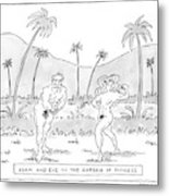 Title: Adam And Eve In The Garden Of Fitness Metal Print
