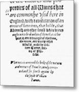 Title Page Wine Book, 1568 Metal Print