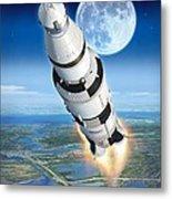To The Moon Apollo 11 Metal Print by Stu Shepherd