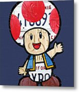 Toad From Mario Brothers Nintendo Original Vintage Recycled License Plate Art Portrait Metal Print