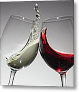 Toasting With Glasses Of Water And Red Metal Print