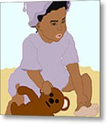 Toddler And Teddy Metal Print