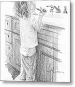 Toddler Brushing Teeth Pencil Portrait  Metal Print