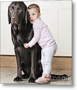 Toddler With Dog Metal Print by Justin Paget