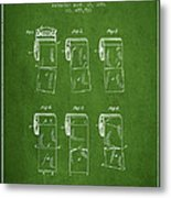 Toilet Paper Roll Patent From 1891 - Green Metal Print