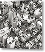 Tokyo City Black And White Metal Print