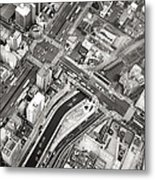 Tokyo Intersection Black And White Metal Print