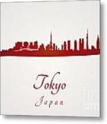 Tokyo Skyline In Red Metal Print