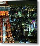 Tokyo Skyline With Tokyo Tower At Night Metal Print