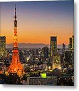 Tokyo Tower Skyscrapers Neon Futuristic Metal Print