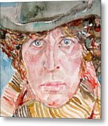 Tom Baker Doctor Who Watercolor Portrait Metal Print