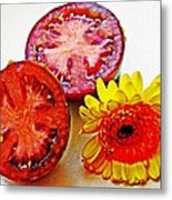 Tomato And Daisy 2 Metal Print by Sarah Loft