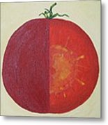 Tomato In Two Reds Acrylic On Canvas Board By Dana Carroll Metal Print