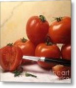 Tomatoes And A Knife Metal Print