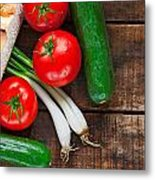Tomatoes Cucumber Bread And Spring Onions On Old Wooden Table Metal Print