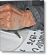 Tombstone Engraver At Work Metal Print