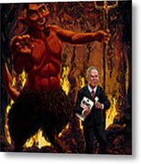 Tony Blair In Hell With Devil And Holding Weapons Of Mass Destruction Document Metal Print by Martin Davey