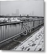 Too Cold To Cycle Metal Print