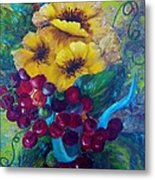 Too Delicate For Words - Yellow Flowers And Red Grapes Metal Print