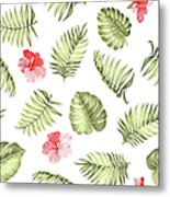 Topical Palm Leaves Pattern Metal Print