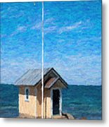 Torekov Beach Hut Painting Metal Print