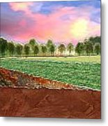 Torn Paper Fields Of Green And Brown Metal Print