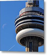 Toronto Cn Tower Moon And Jet Trail Metal Print
