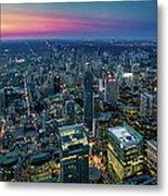 Toronto Downtown City At Night Metal Print