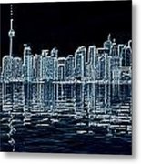 Toronto Skyline In Blue Metal Print